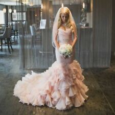Mermaid Wedding Dress Blush Sweetheart Beads Bridal Gown Custom Plus Size 18 20+