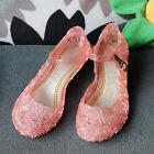 Kids Girl Elsa Princess Glass Slipper Fancy Dress Up Cosplay Jelly Shoes Sandals