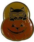 "Cat Jack O Lantern Halloween Pin Brooch Holiday Fun 1"" X 1"" metal"
