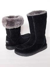 UGG AUSTRALIA Downtown Boots WOMEN 6 BLACK Tall Leather Classic Sheepskin Fur