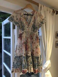 Zimmermann Georgia Floral Flutter Dress sz 0 6-8 Cotton/Silk