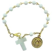 White Prayer Bead Rosary Bracelet with Gold Tone Saint Benedict Medal, 8 Inch