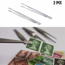 2pcs Stamp Tweezers Philately Stamps Collector Tools Tong-Straight Spade Silver