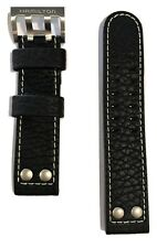 Original Hamilton Khaki X-Wind Black Leather Band Strap H77646733, H77696793