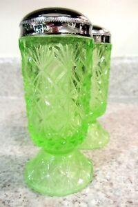 Fenton Glass Key Lime Green Fine Cut + Block Pattern Salt and Pepper, new w/box