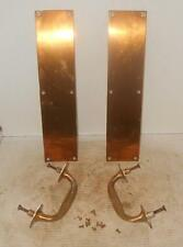 Vintage Set of Brass 2 Door Push Plates and 2 Pulls WITH ORGINIAL SCREWS