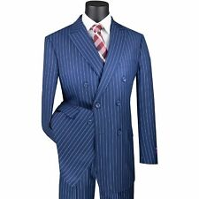 VINCI Men's Blue Pinstripe Double Breasted 6 Button Classic Fit Suit NEW