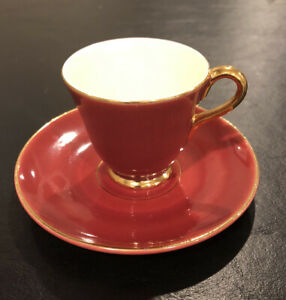 Vintage Zuid Holland Gouda  Demi Tasse Tea Cup And Saucer Gold Accents