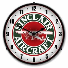NEW SINCLAIR AIRCRAFT RETRO ADVERTISING BACKLIT LIGHTED CLOCK -  FREE SHIPPING*