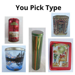 """Empty Cookie Popcorn Candy Tins 5"""" 6"""" 8"""" 10"""" Round Rectangle Container YOU PICK"""
