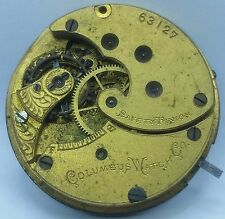 Columbus 6s 7 jewel Pocket Watch Movement Antique Parts or Repair F2719