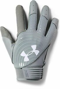 Under Armour HeatGear UA Harper Hustle Mens Batting Gloves Gray Size XL