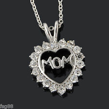 New Mom Charm Silver Crystal Heart Pendant Necklace Rhinestones Mother's Day