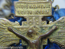 "† SPECIAL VINTAGE DETAILED ""PARDON CROSS"" CRUCIFIX BRASS & BLUE GLASS ROSARY †"