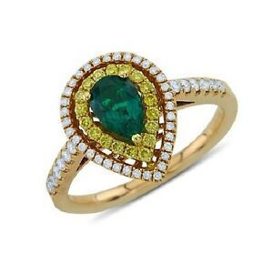 18K ROSE GOLD PAVE YELLOW DIAMOND GREEN EMERALD PEAR CUT HALO ENGAGEMENT RING