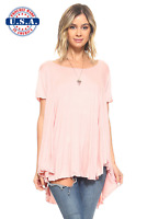 New Women's Blush Flowy Swing Scoop Neck Tunic Top Shirt S M L XL 1X 2X 3X