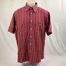 Orvis Men's Red Plaid Short Sleeve Button Down Shirt Size: L