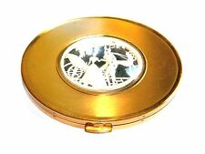 VINTAGE ART DECO CELLULOID - GILT BRASS COMPACT BY DANIE'L