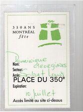 SOLDAT LOUIS vintage used concert PASS 350 ans montreal