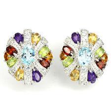 Sterling Silver 925 Rainbow Genuine Natural Gemstone Stud Design Earrings