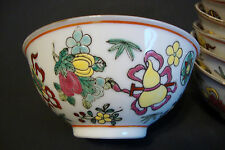 Old Chinese Porcelain Soup Bowl - Enamel Hand Painted Multicolor