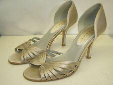 DEBUT beautiful pale stone satin heeled peep toe occasion shoes UK 6 Eu 39