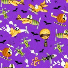 Me and My Ghoul Friends Halloween Fabric Dracula Frankenstein Ghost Planes Bats