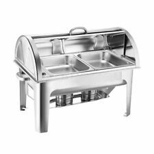 SOGA 2 4.5L Stainless Steel Roll Top Dual Tray Buffet Chafer Dish