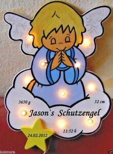 SCHLUMMERLICHT Schutzengel Geschenk BABY GEBURT TAUFE HOLZ  NAMEN LAMPE handmade