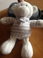 Babies Next White teddy bear, with grey &white striped jumper& scarf, 9ins,