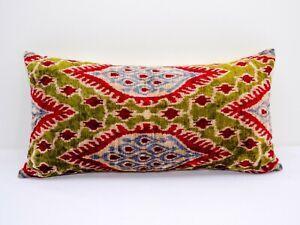 Green red Silk Velvet ikat pillow cushion home decorative ikat sofa lumbar ikat