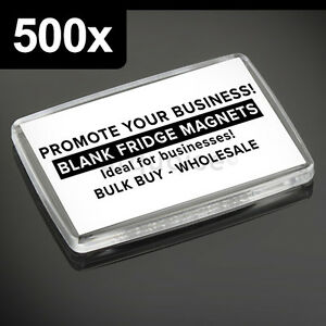 500x Premium Calidad Acrílico Transparente en Blanco Nevera Imanes 66 X 44MM L
