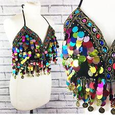 Festival Multicoloured Sequin Coin Crop Bra Top Rave Ibiza Belly Dance 6 8 10 12