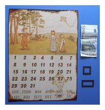 "Targa vintage ""Calendario perpetuo magnetico Bambini con aquilone"", cm 33x25"