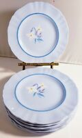 "J & G MEAKIN WHITE ALPINE BLUE BREAD PLATES 6"" SET OF 7 HANDPAINTED FLOWERS VTG"