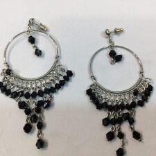 Fashion Earrings Hanging Hoops Silvertone Costume Jewelry Black Plastic Stones