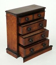 19C English Miniature Burl Wood Chest of Drawers Dollhouse Furniture  (FLA)
