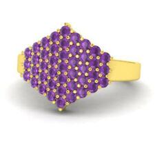 0.86 Ct Natural Gemstone Amethyst Wedding Rings 14K Yellow Gold Size M N J K L P