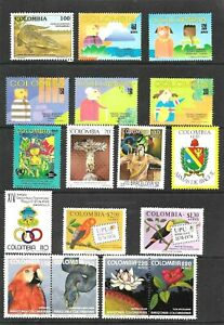 #1948 COLOMBIA LOT MODERN CONMEMORATIVES 17 STAMPS+SETS FAUNA BIRDS FLOWER ART