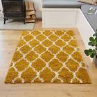Ochre Yellow Shaggy Rugs Deep 3cm Shaggy Runner Moroccan Trellis Living Room Rug