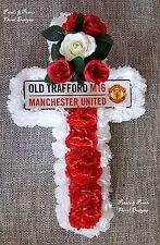 Soie Artificielle Fleur Manchester Utd Old Trafford Football funéraire croix couronne