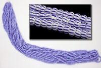 11/0 Opaque White/Blue Stripe Czech Seed Bead (Hank) #CSG183