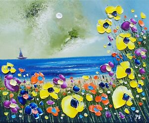 Midnight Beach & Flowers in Love, an original oil painting on canvas, Phil Broad