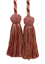 "Red Pink Green Cream 3.5"" Double Tassel Tieback Rose Bouquet [Invidual]"