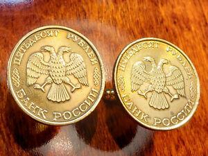 Russian Double Headed Eagle Brass Clad Steel Large Russia Coin Cufflinks + Box!