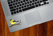 """CLR:TP - Goldfinch Bird Stained Glass Vinyl Trackpad Decal ©YYDC (SM 3""""w x"""