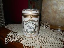 VINTAGE TALL PINK GOLD HANDPAINTED FRENCH SCENE DRESSER TRINKET COSMETIC JAR BOX