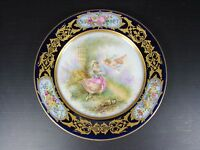PARIS 19 thC Rococo Sevres Style Porcelain Plate (c) Handpainted Putti Signed