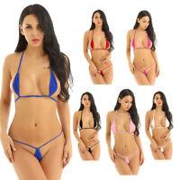 Damen Micro Bikini Set Triangel Mini BH mit G-String Bademode Badeanzug Dessous