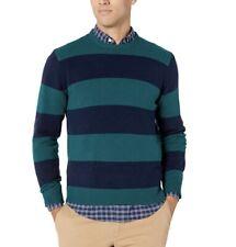 Amazon Essentials Mens Midweight Striped Preppy Sweater Emerald/navy L